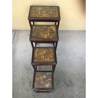 Small Vintage Asian Hand-Carved Nesting Side Tables - Set of 4 Preview