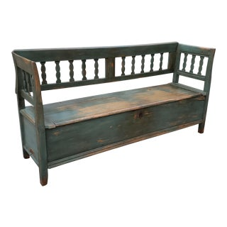 Rustic Antique Swedish Pine Storage Bench For Sale