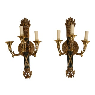 Pair Federal Design 3 Light Torch Electrified Candelabra Sconces For Sale