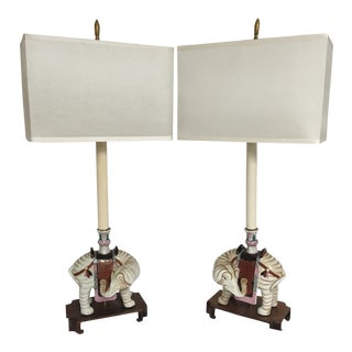 Indian Elephant Lamps - a Pair For Sale