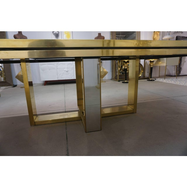 Sinopoli 1970s Italian Brass Satin & Chrome Geometric Large Dining / Hall Table For Sale In New York - Image 6 of 11