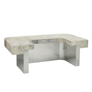 Brioni Desk (Gray Parchment & Stainless Steel) by Sylvan s.f. For Sale