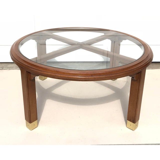 Round Brass, Wood & Glass Coffee Table - Image 4 of 4