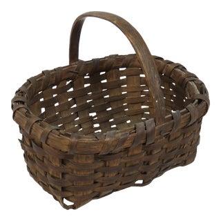Antique American Coastal Maine Rustic Primitive Carry Basket For Sale