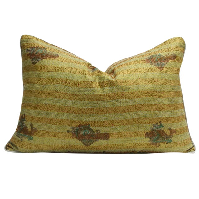 Goldenrod Bengal Silk Kantha Pillow - Image 1 of 4