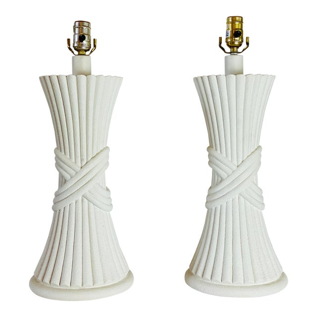 1970s Sculptural Plaster White Table Lamps - a Pair For Sale