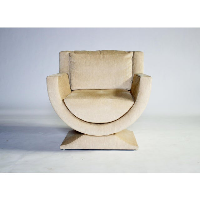 1970's Curule-form fully upholstered club chair by Richard Himmel for Interior Crafts in a textured cream/champagne color...