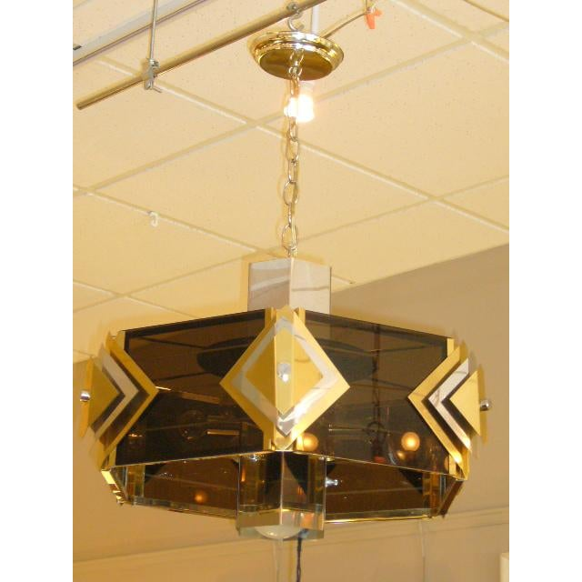 Amazing Modernist Cityscape Style Mixed Metal & Lucite Chandelier For Sale - Image 9 of 10