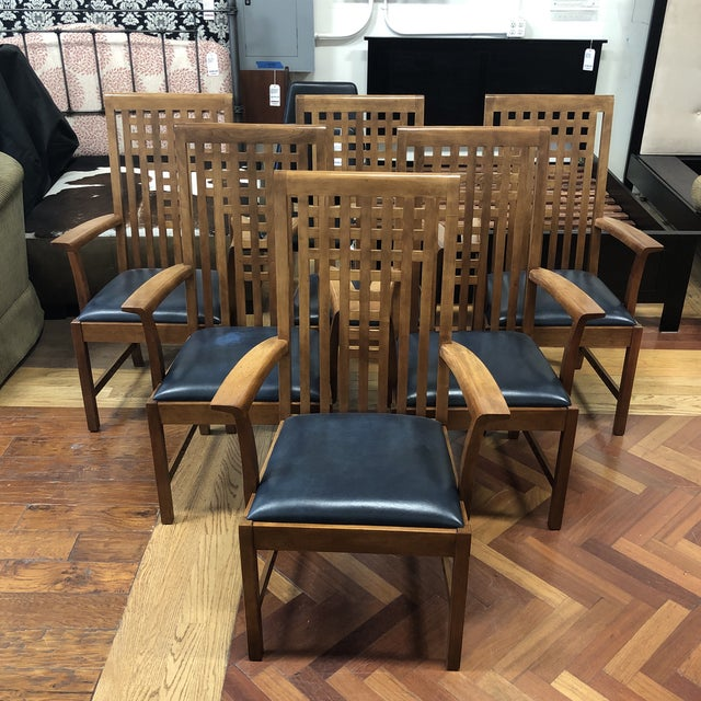 Stickley Furniture Metropolitan Collection Lattice Back + Leather Armchairs- Set of Six For Sale - Image 13 of 13