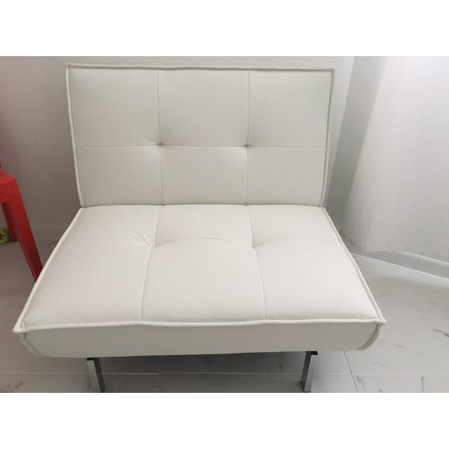 Tufted White & Chrome Accent Chair - Image 2 of 4