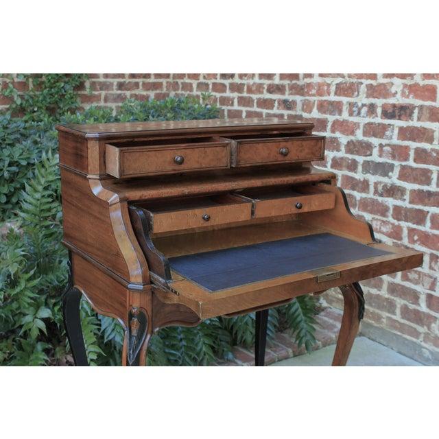 Antique French Birds Eye Maple Fall Front Secretary Desk Bureau For Sale - Image 11 of 13