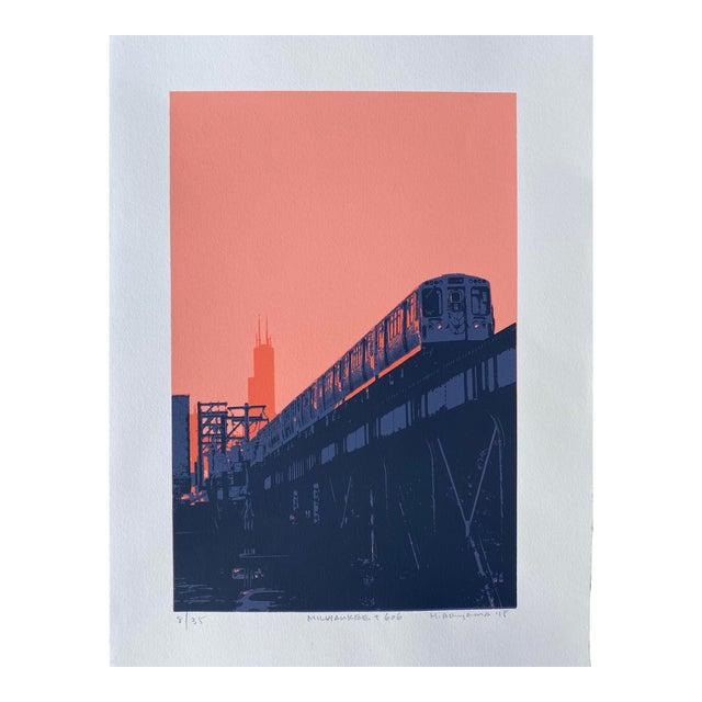 """Milwaukee and 606 II"" Contemporary Serigraph by Hiroshi Ariyama For Sale"