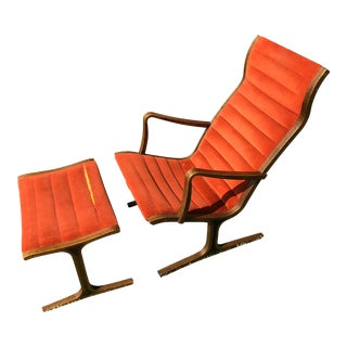 Heron Chair and Footrest by Mitsumasa Sugasawa For Sale