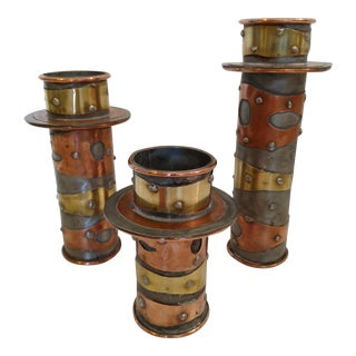 Vintage Hand-Crafted Metal Candlesticks - Set of 3 For Sale