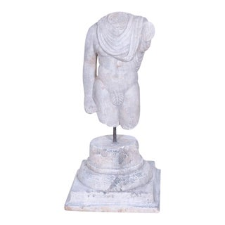 Antique Spanish Hand Carved Stone Male Figure Torso on Antique Spanish Stone Capital For Sale