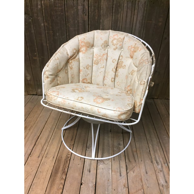 Mid Century Modern White Homecrest Swivel Metal Chair For Sale - Image 9 of 11