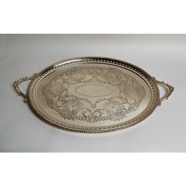 Antique English Silver Plate Serving Tray For Sale - Image 4 of 4