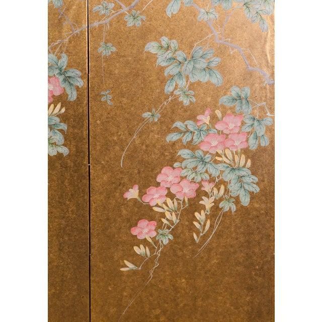 """1990s """"Sparrows With Cherry Blossom"""" 4-Panel Paint on Gold Foil Chinoiserie Hanging Screen For Sale - Image 5 of 11"""