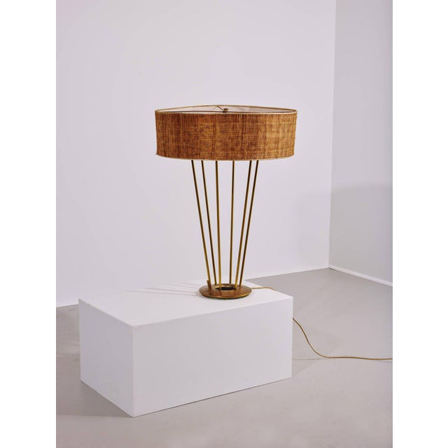 Stiffel lamp, USA, 1950s. Shade measures 22.5 in diameter. Makers mark {Stiffel}. Measures: 77 H x 57 D cm. Stiffel lamp,...