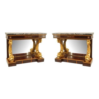20th Century English Regency Style Rosewood Console Tables - a Pair For Sale