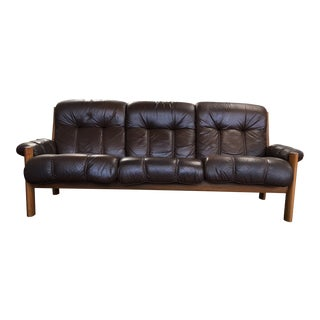 Mid Century Ekornes Stressless Montana Leather and Teak Sofa For Sale