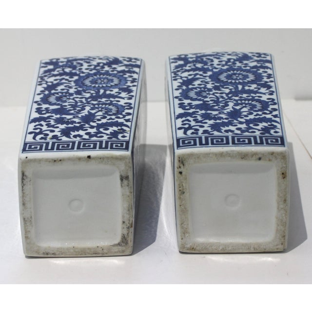 Ceramic Vintage Blue & White Silk Road Style Vases - a Pair For Sale - Image 7 of 9