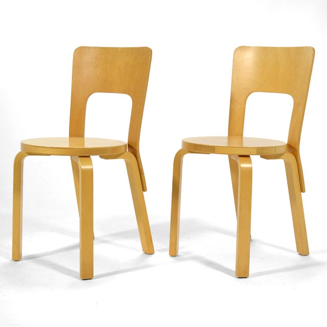 Mid-Century Modern Alvar Aalto Pair of Model 66 chairs For Sale - Image 3 of 11