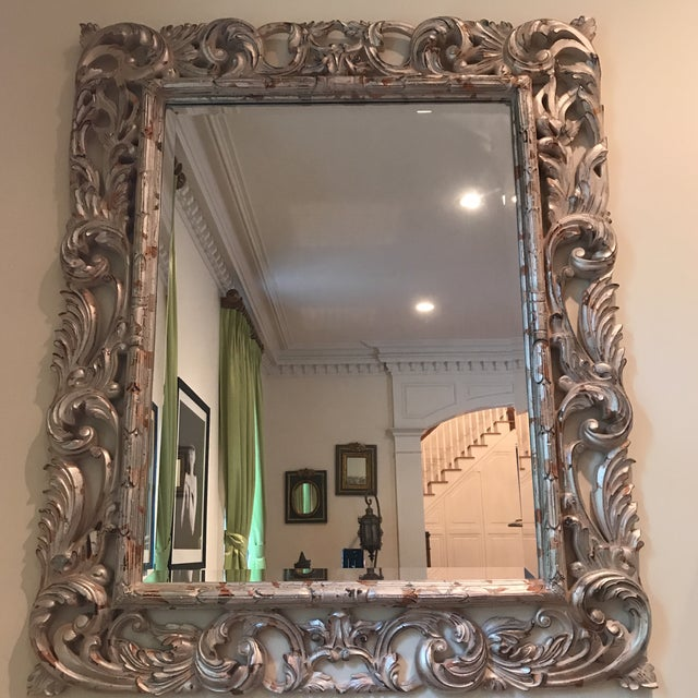 Art Deco Silver Brocade Large Wall Mirror For Sale - Image 4 of 7