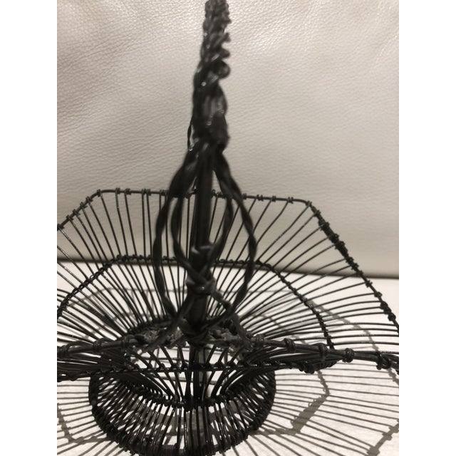Vintage, unique French flea market find with a beautiful shape, black wire handled basket. perfect for eggs or vegetable...