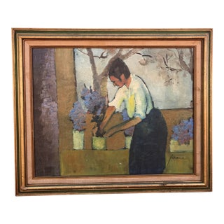 """1970s Sarena Rosenfeld Signed """"Lady Planting Flower"""" Oil Painting on Canvas in Golden Wood Frame For Sale"""