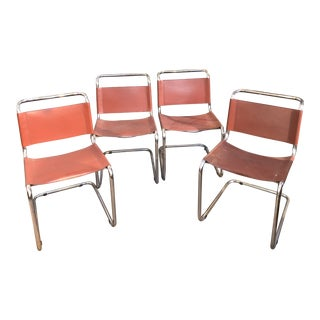 Mid Century Italian Chrome and Leather Chairs- Set of 4 For Sale