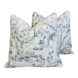 "Blue-Gray Linen Toile Feather/Down Pillows 25"" Square - Pair For Sale"