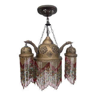 Early 20th Century Boho Pierced Brass and Glass Bead Chandelier For Sale
