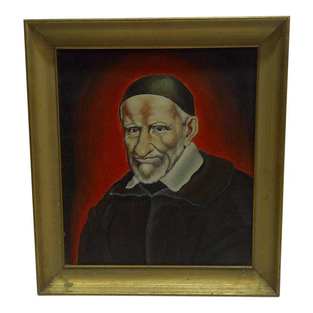 """Circa 1940 """"St Vincent De Paul"""" Original Painting on Canvas For Sale"""