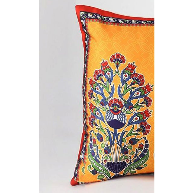 Silk Bohemian Silk Cushion Orange Red - a Pair For Sale - Image 7 of 9