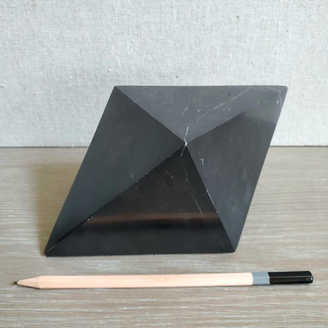 Geometric Octahedron Marble Sculptures - Set of 3 For Sale - Image 9 of 12