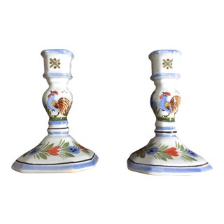 Vintage Quimper French Pottery Candlesticks - a Pair