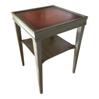 Antique Leather-Top Accent Table