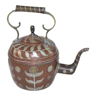 Early 19th Century Spanish Decorated Copper Gooseneck Kettle Pot For Sale