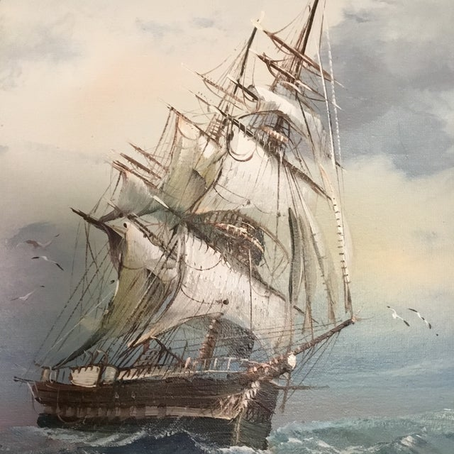 Nautical Mid 20th Century Vintage Detailed Clipper Ship Original Oil Painting For Sale - Image 3 of 7