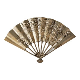 Vintage Brass Fan Wall Hanging Wall Decor Asian Oriental For Sale