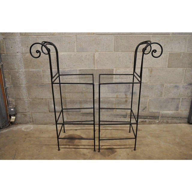 Industrial Wrought Iron Curule Frame Scroll Back Seat Bar Counter Stools - a Pair For Sale - Image 3 of 11
