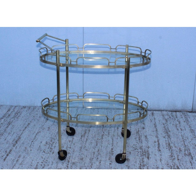 Metal Signed Maxwell-Phillips Patinated Brass Bar Cart For Sale - Image 7 of 13
