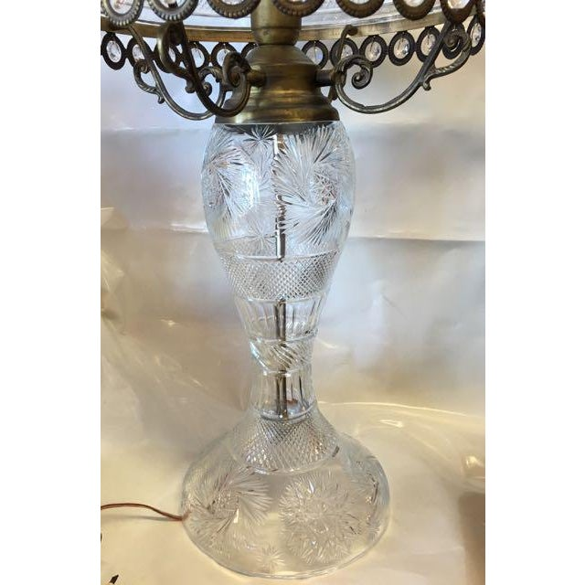 Hand cut crystal table lamp and shade in the style of American Brilliant cut glass. We have never seen a cut crystal lamp...