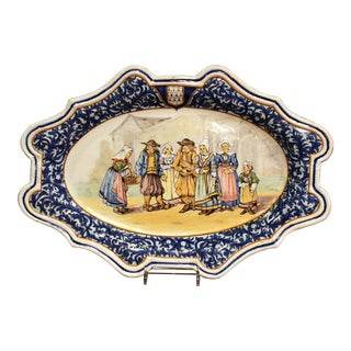 Large Early 20th Century French Hand-Painted Porquier Beau Quimper Wall Platter For Sale