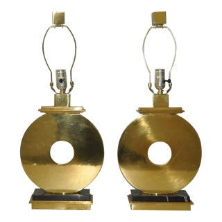 Pair of Vintage Brass & Marble Table Lamps For Sale