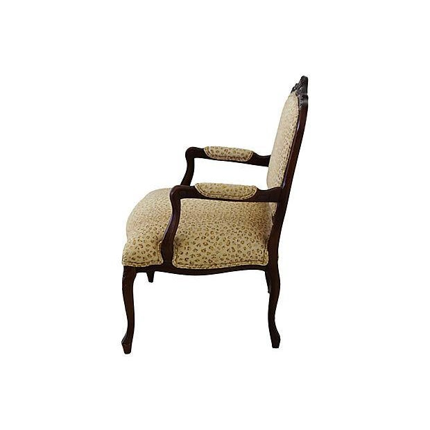 Fabric Ralph Lauren Leopard Cheetah Animal Spot Linen Fabric Vintage Carved Armchair Chair For Sale - Image 7 of 13