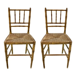 Antique Carved Petit Chid Size Bamboo Chairs Pair For Sale