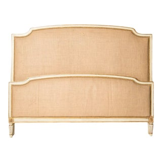 1940s French Louis XV Style Burlap Queen Size Bedframe For Sale