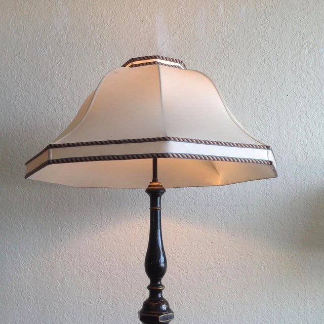 Asian Chinoiserie Floor Lamp With Custom Shade For Sale - Image 3 of 13